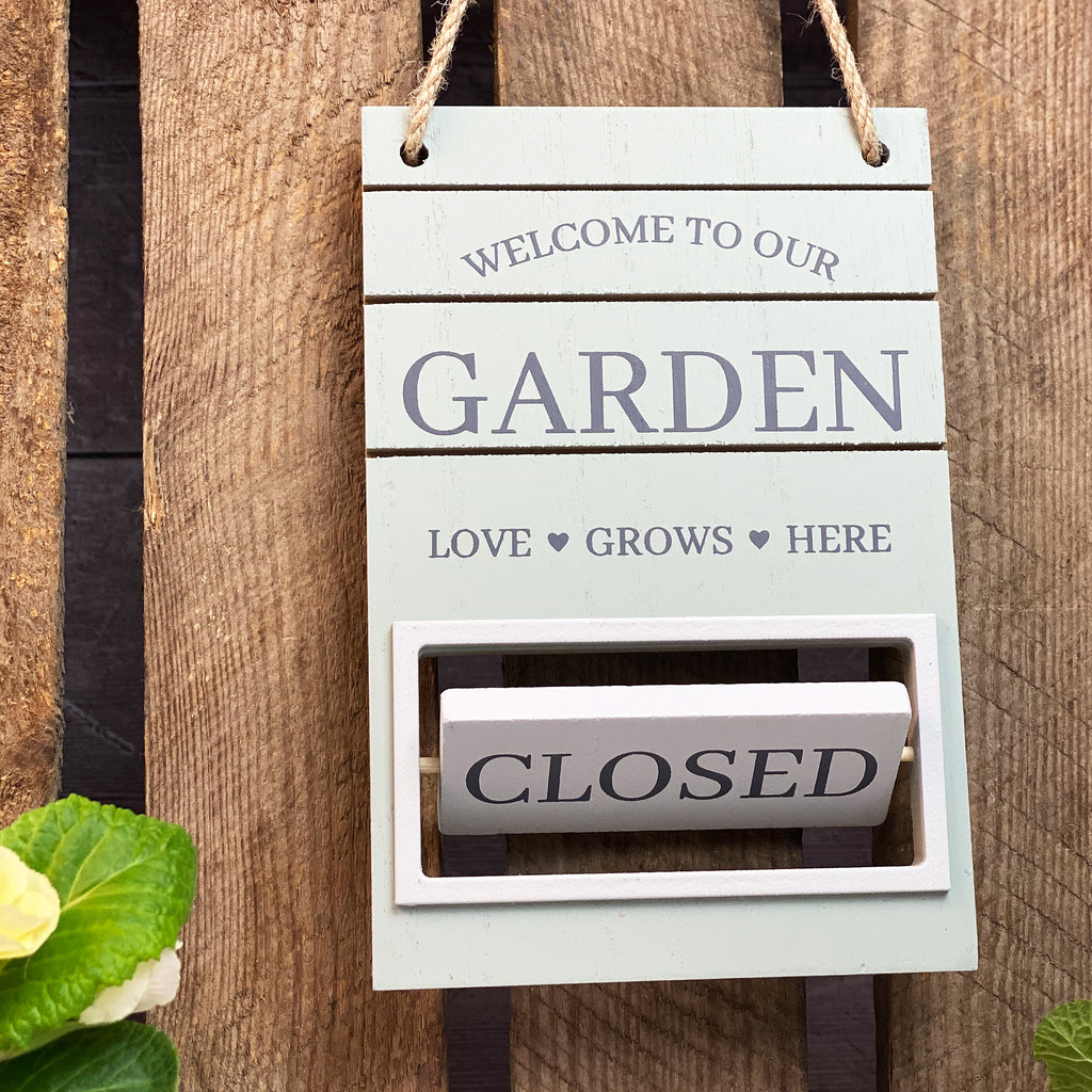 Green OPEN or CLOSED Garden Sign