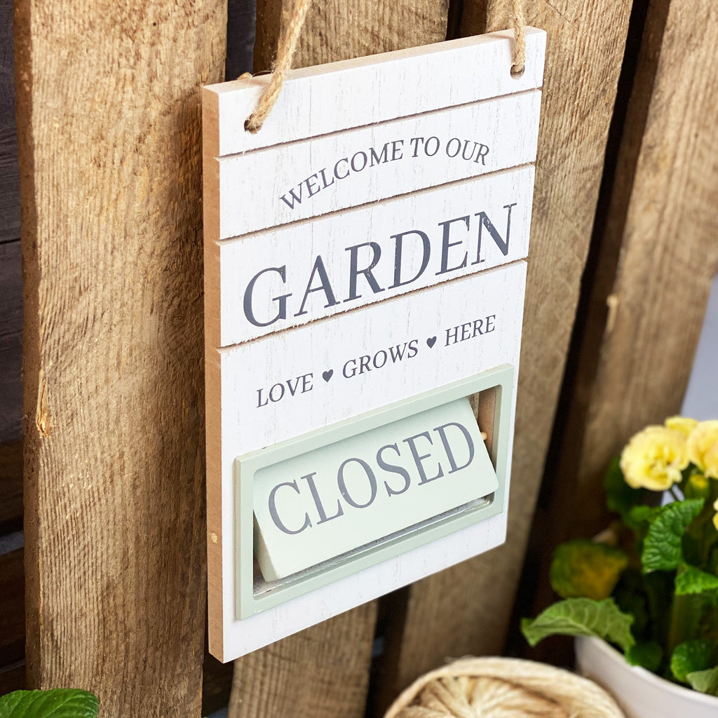 White OPEN or CLOSED Garden Sign