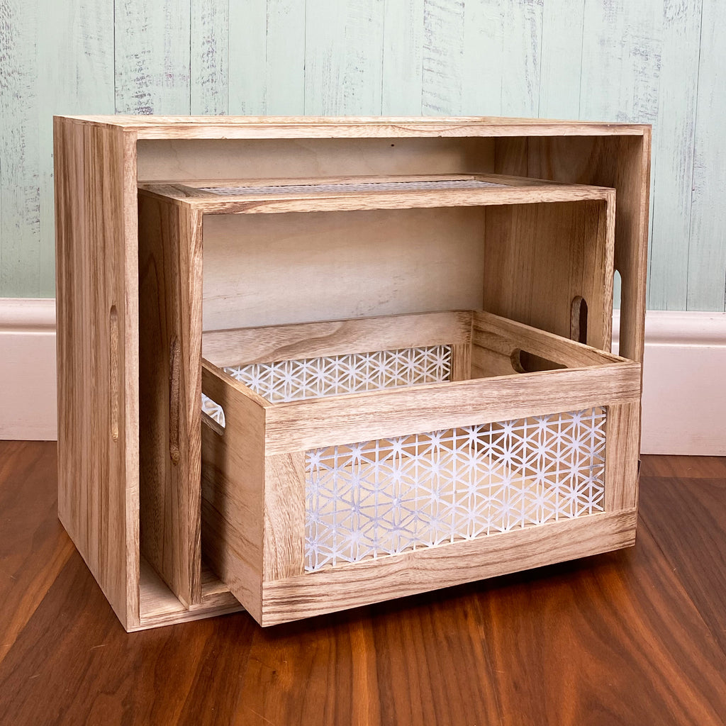 White Lattice Wooden Crates