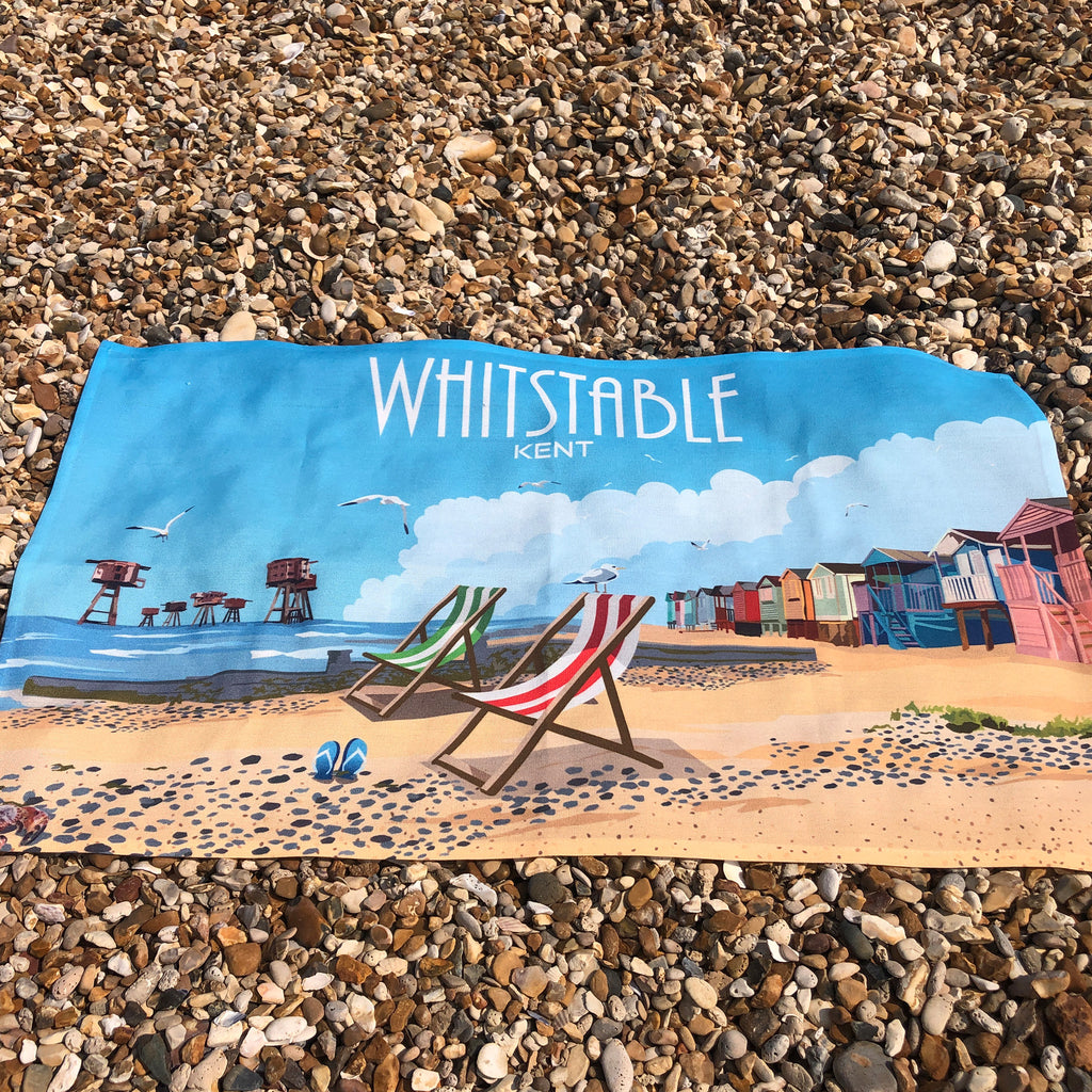 Retro Whitstable Tea Towel