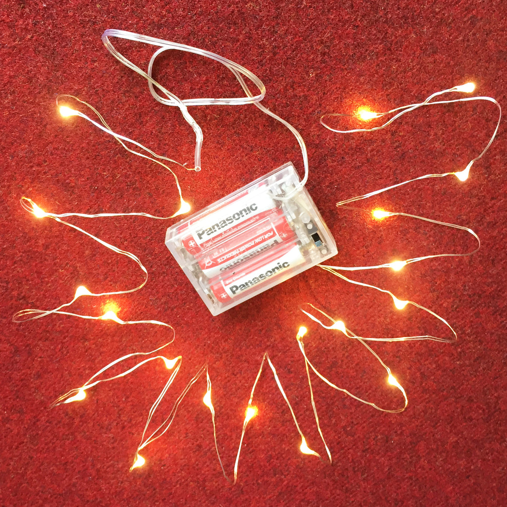 20 Warm White Wire Pin Lights - Battery Operated