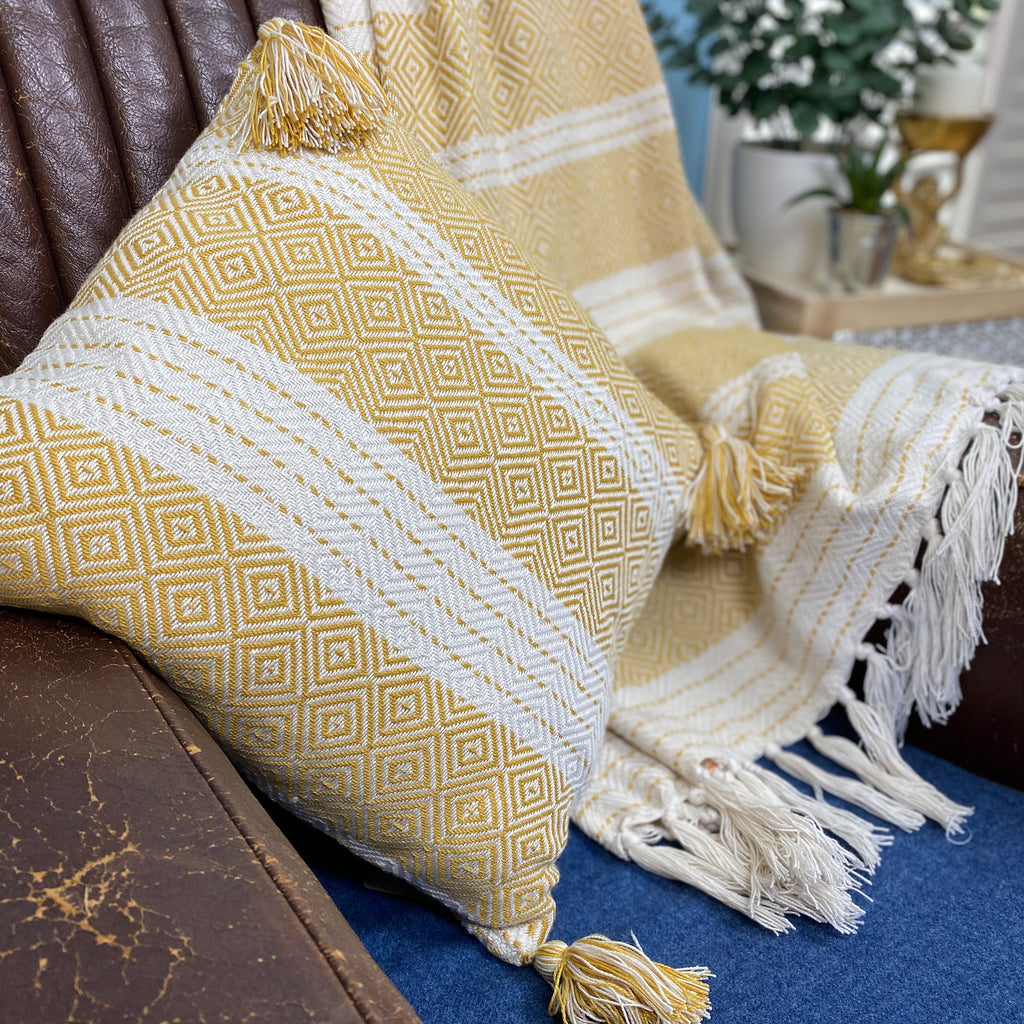 Yellow Ochre Diamond Upcycled Cushion