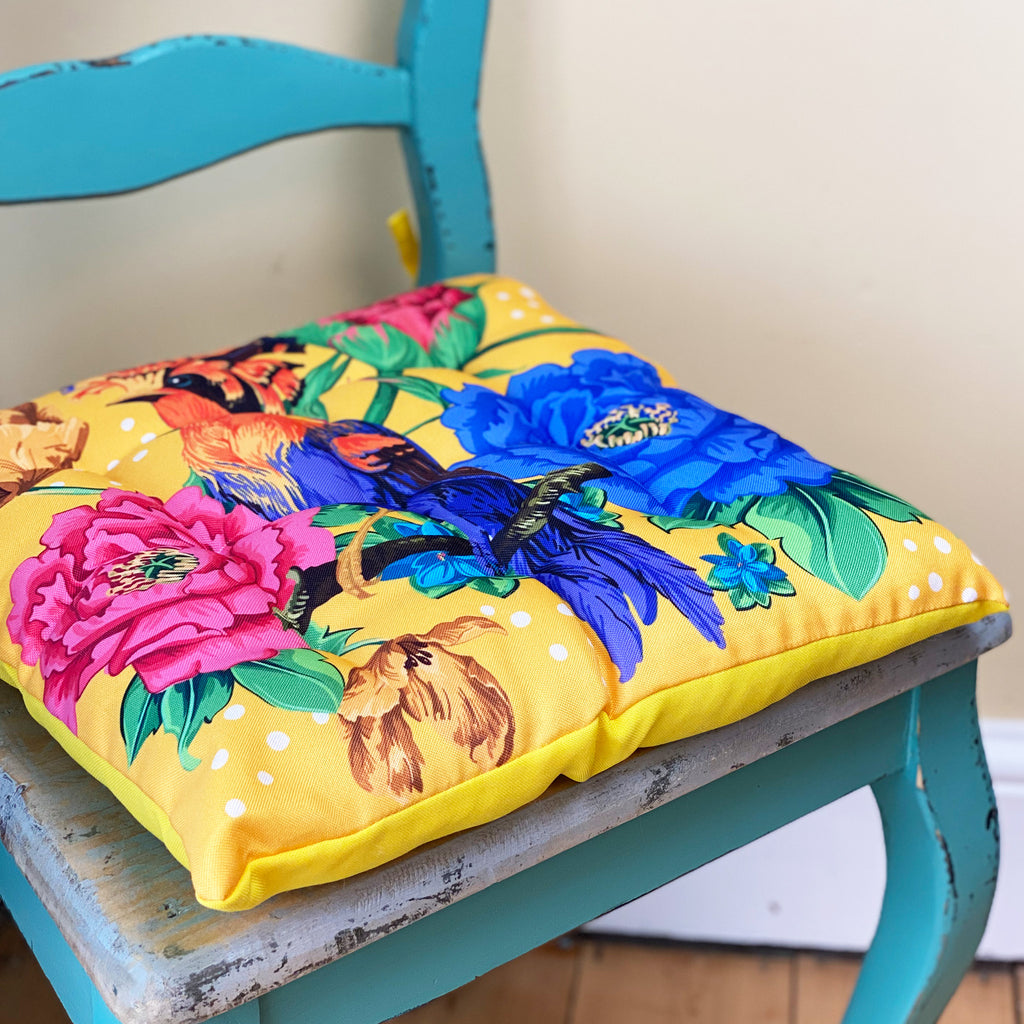 Mexican Floral Yellow Seat Pad