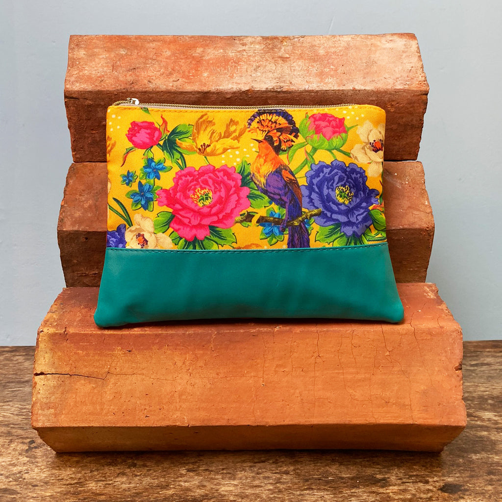 Yellow Mexican Floral Cosmetics Bag