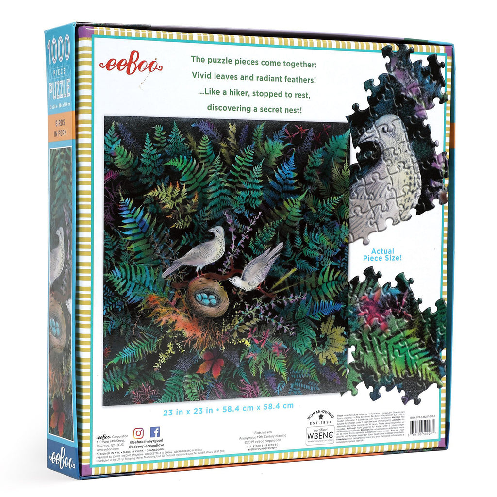 Birds In Fern 1000 Piece Eeboo Puzzle