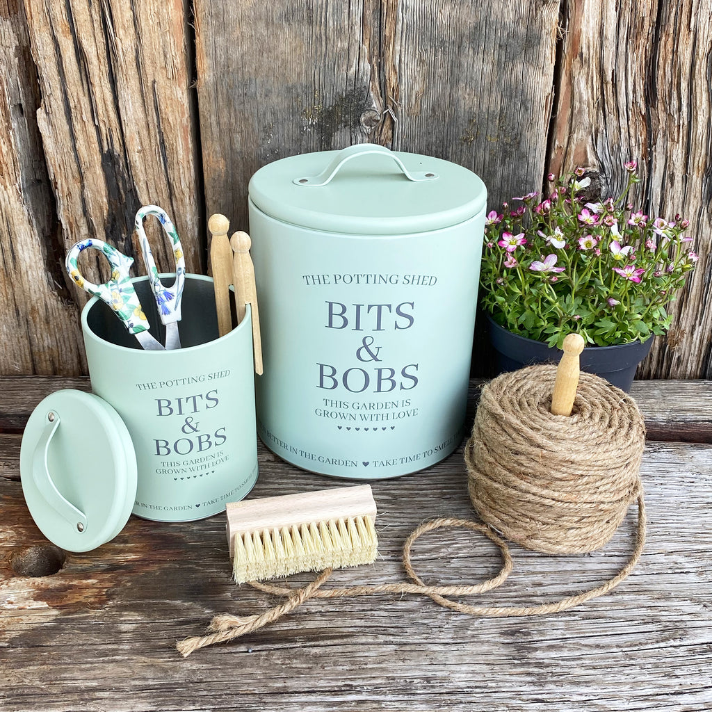 Set of 2 Potting Shed Lidded Tins - Green