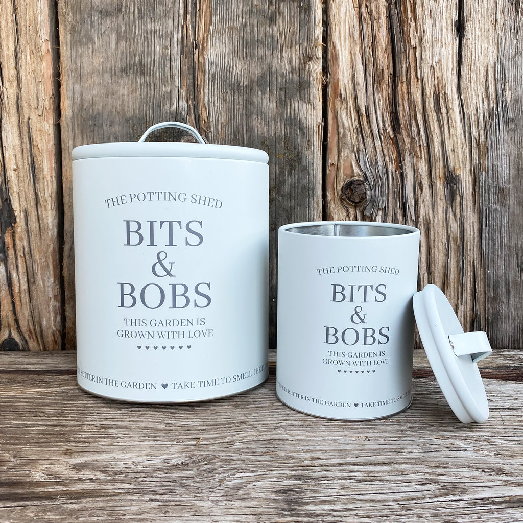 Set of 2 Potting Shed Lidded Tins - Chalk Grey