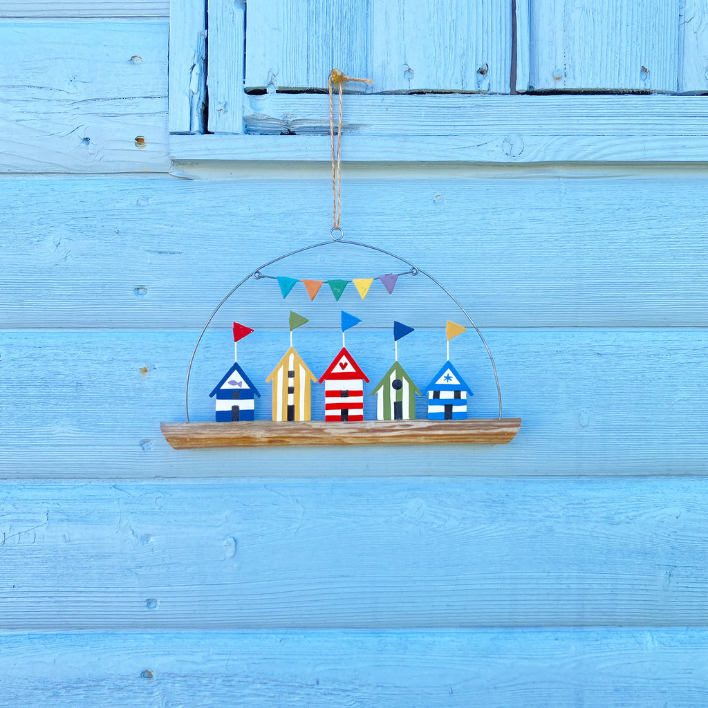 Coloured Beach Huts On Driftwood Hanger
