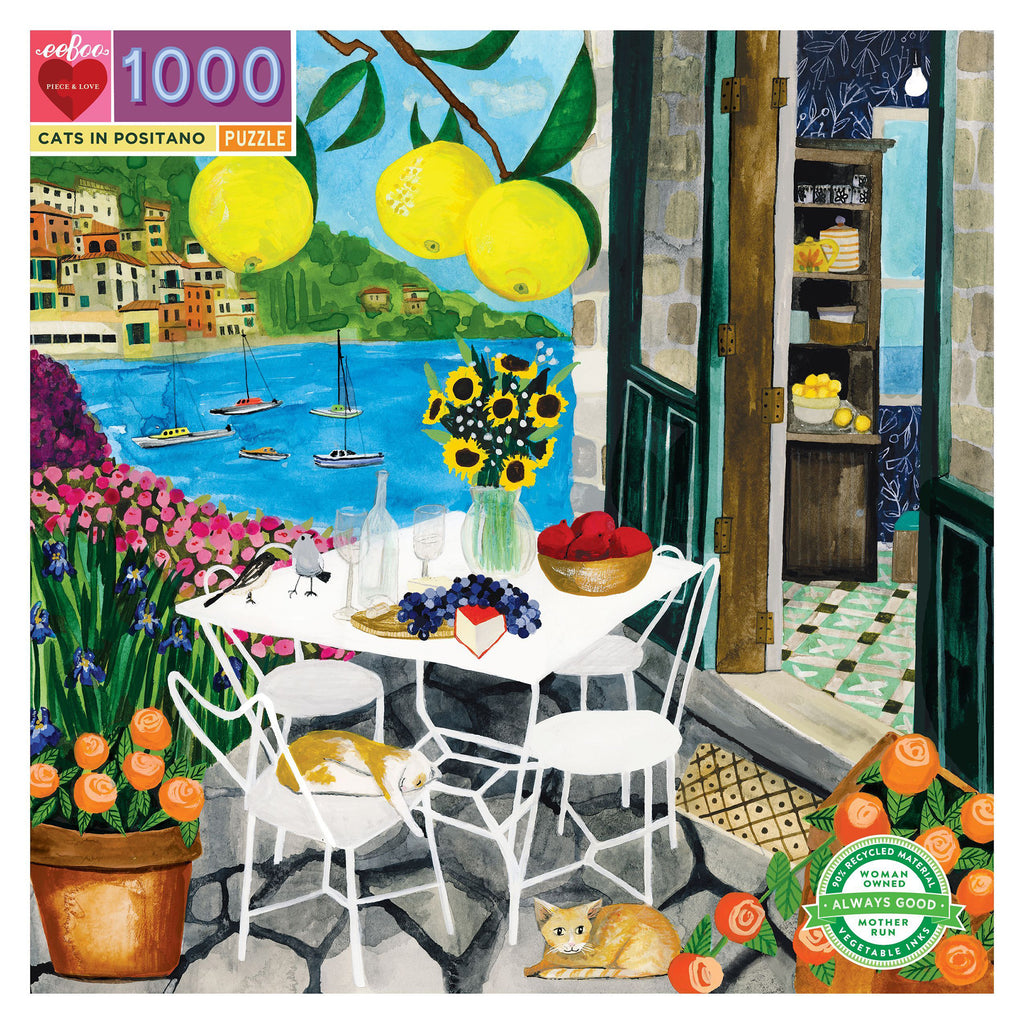 Cats In Positano 1000 Piece Eeboo Puzzle