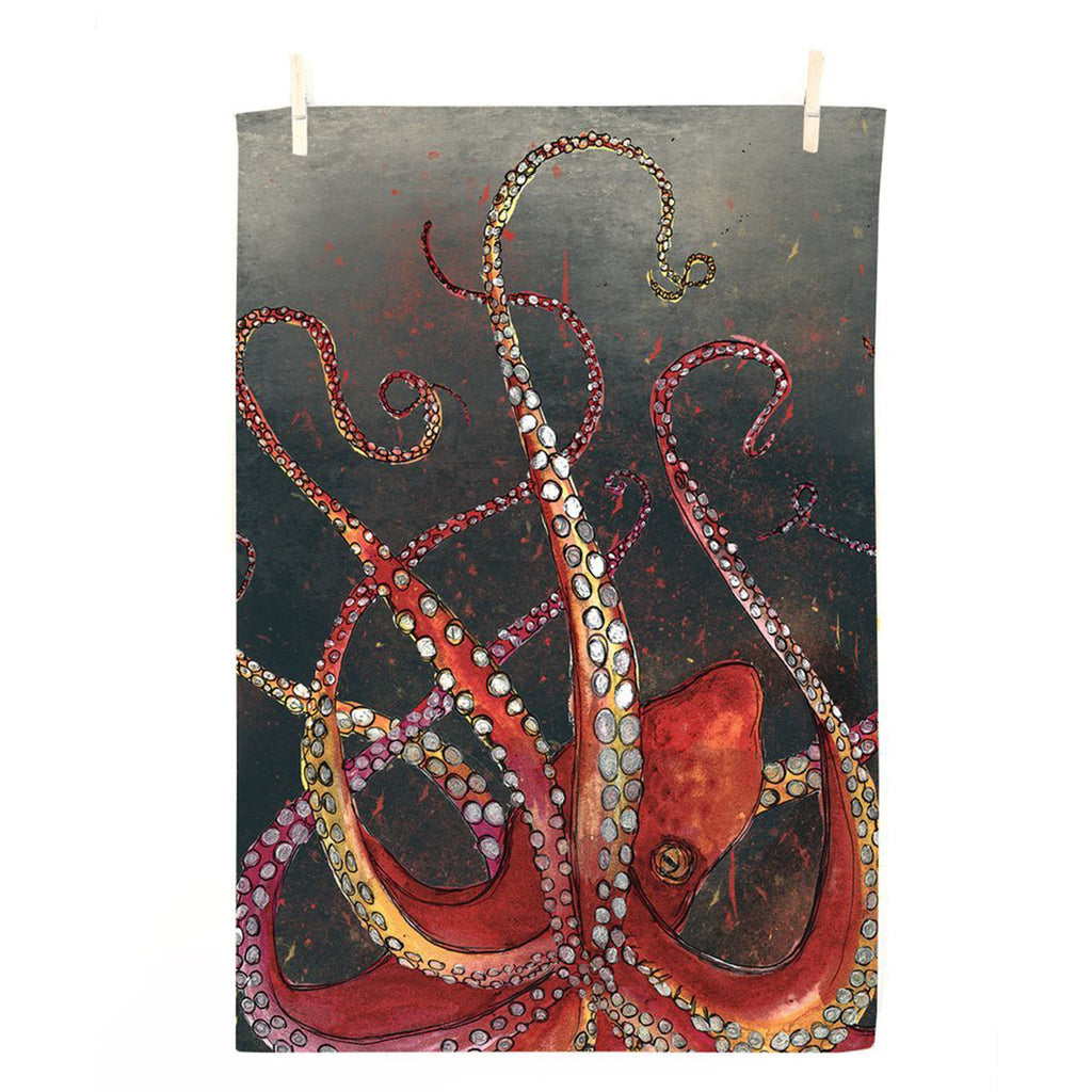 Red Octopus Tea Towel