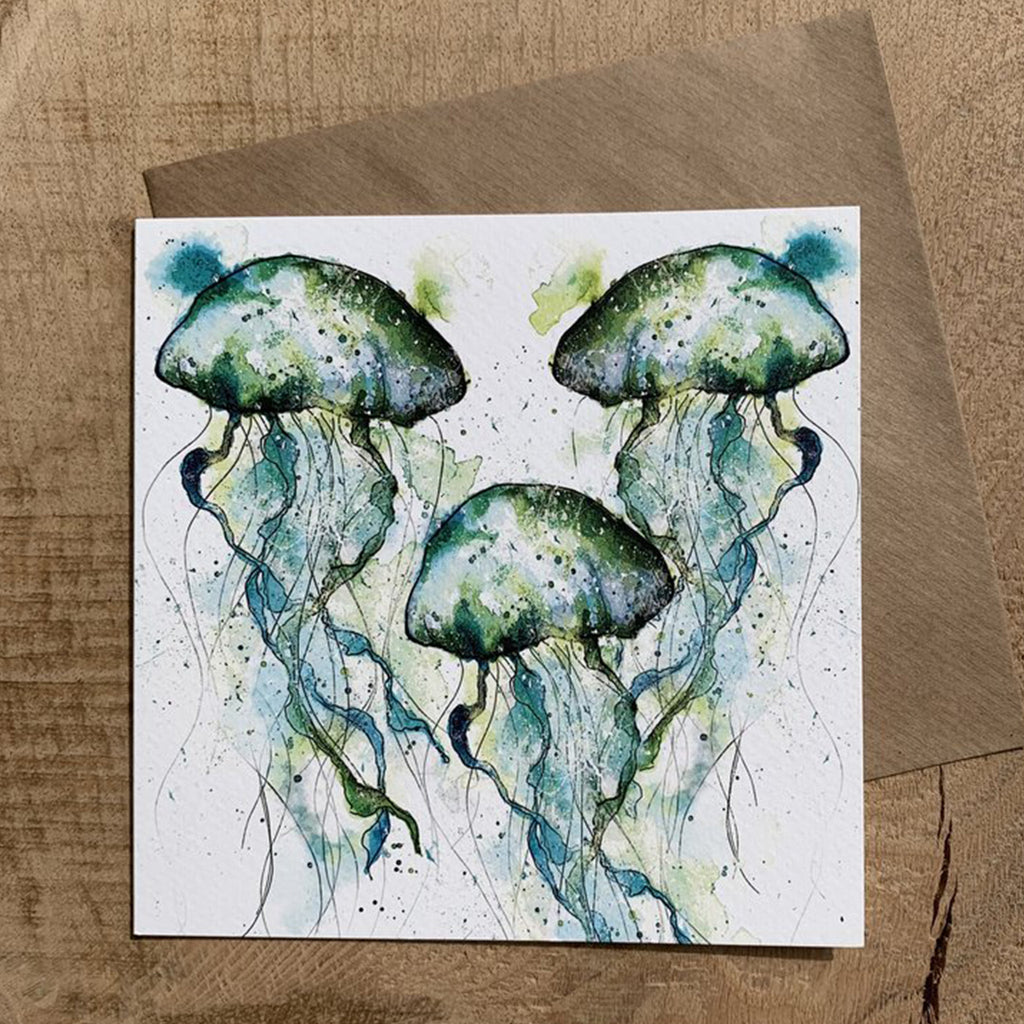 Greeting Card Green Jellyfish