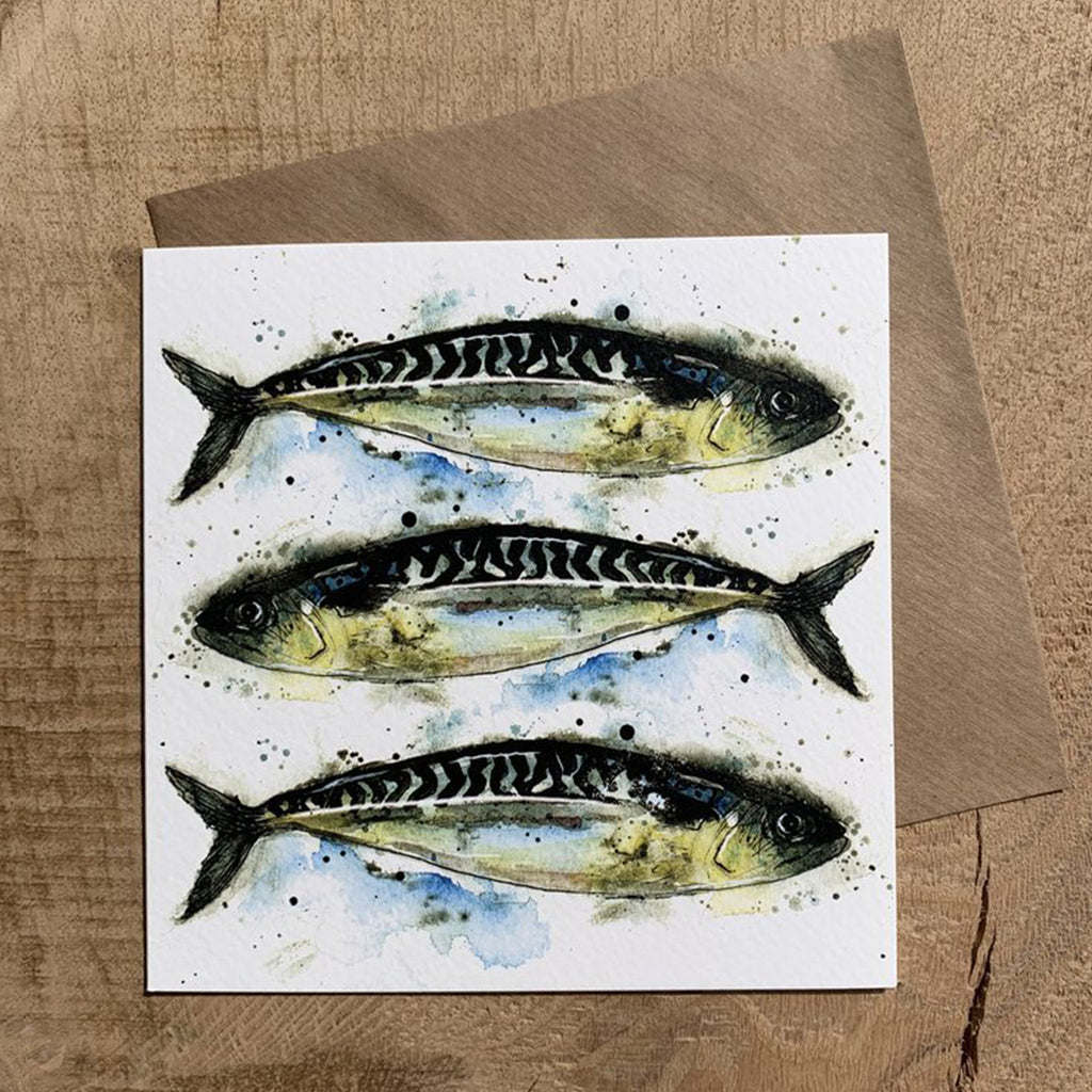 Greeting Card Mackerel In A Line