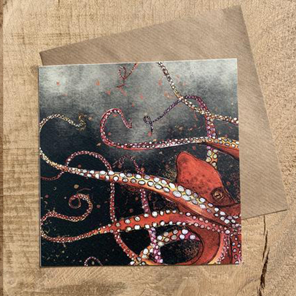 Greeting Card Red Octopus