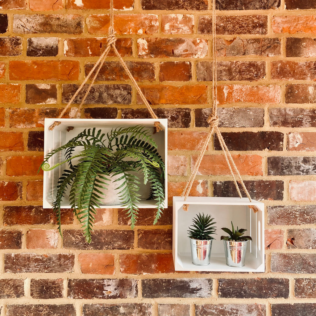 Pair of Hanging White Crates