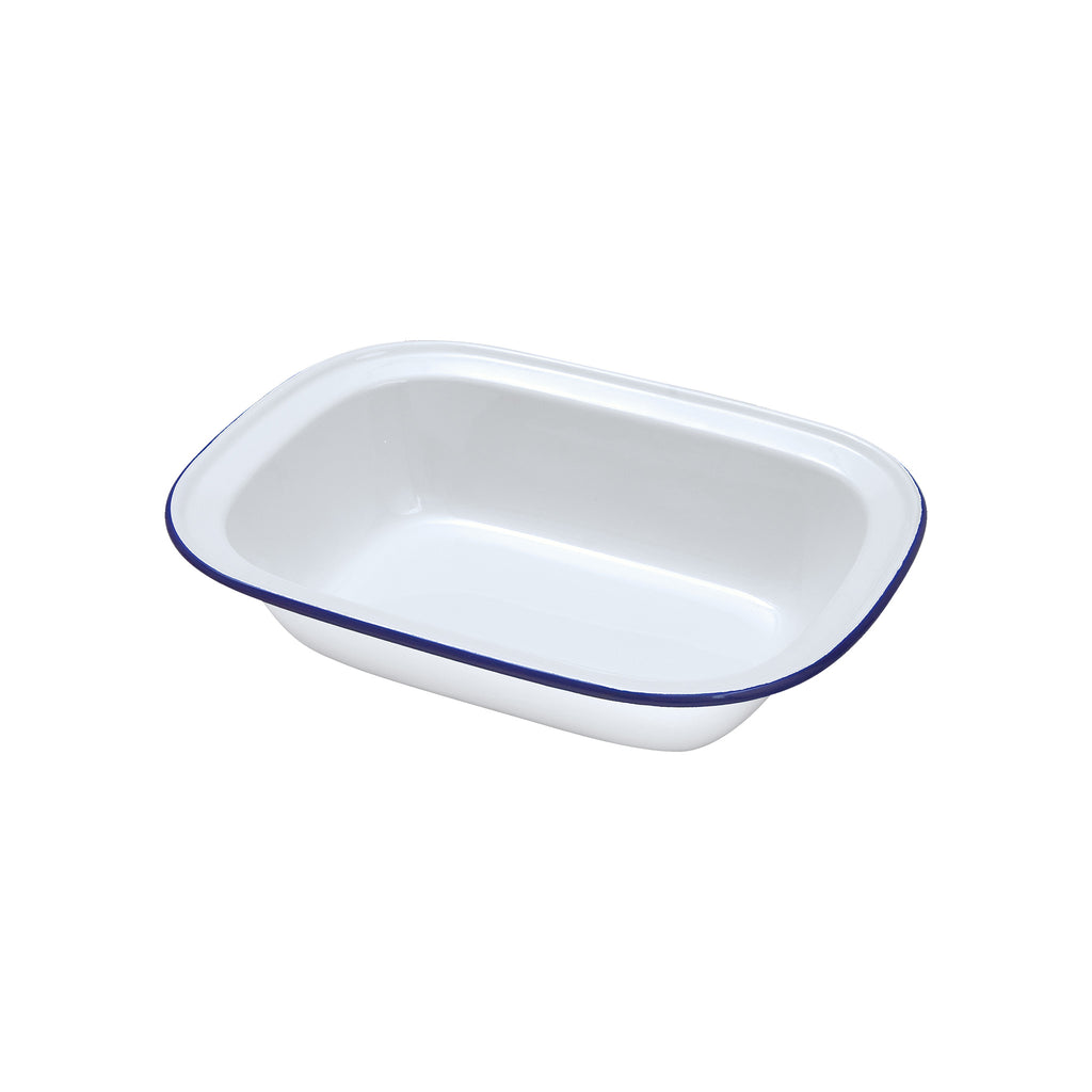 White Enamel Oblong Pie Dish - 16cm