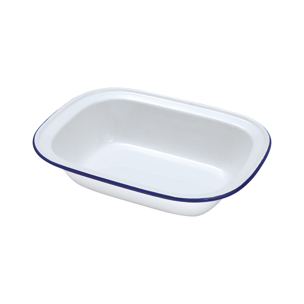 White Enamel Oblong Pie Dish - 20cm