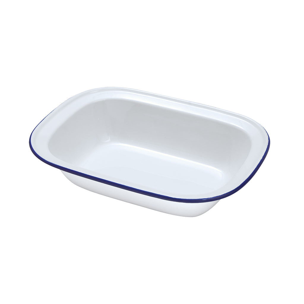 White Enamel Oblong Pie Dish - 24cm