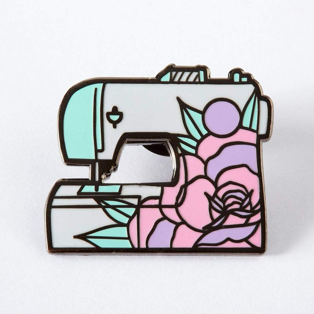 Floral Sewing Machine Enamel Pin