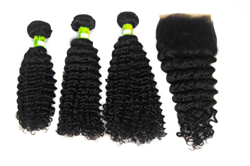3 pack Brazilian Deep Wave + Closure 12A Grade +