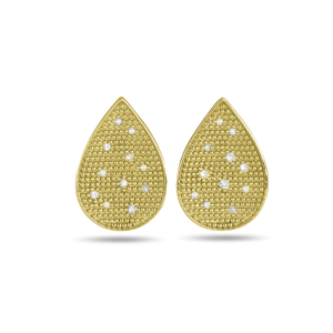 Scattered Diamond Tear Drop Earrings