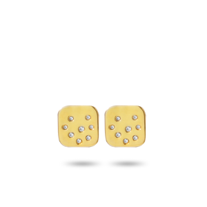 Scattered Diamond Square Earrings