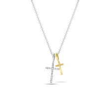 Load image into Gallery viewer, Two-Toned Double Cross Pendant