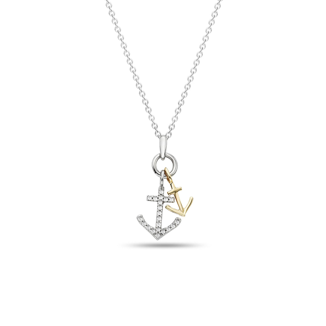 Double Anchor Two-Toned Pendant