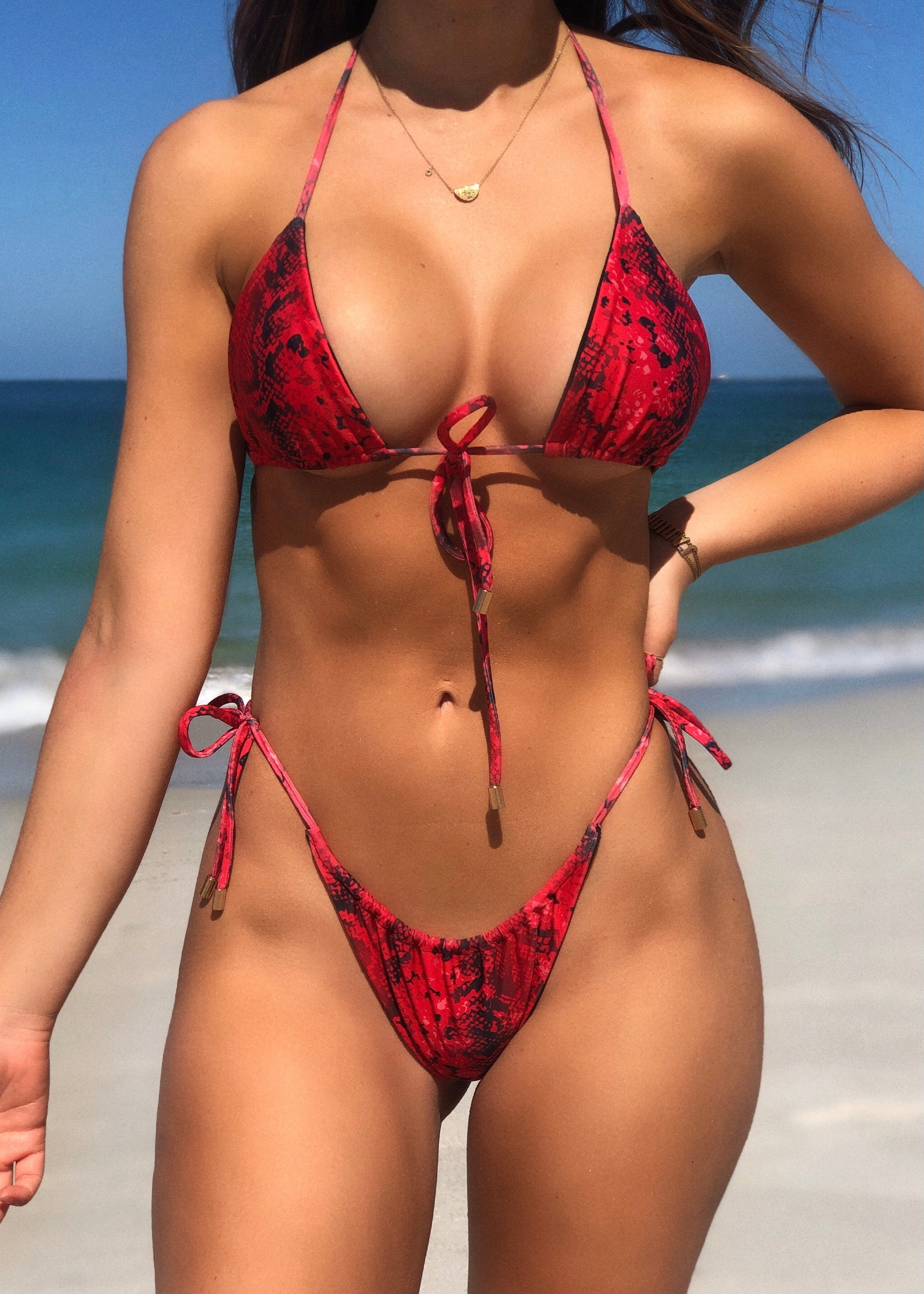 Tied Up Kini Bottoms Red Cobra