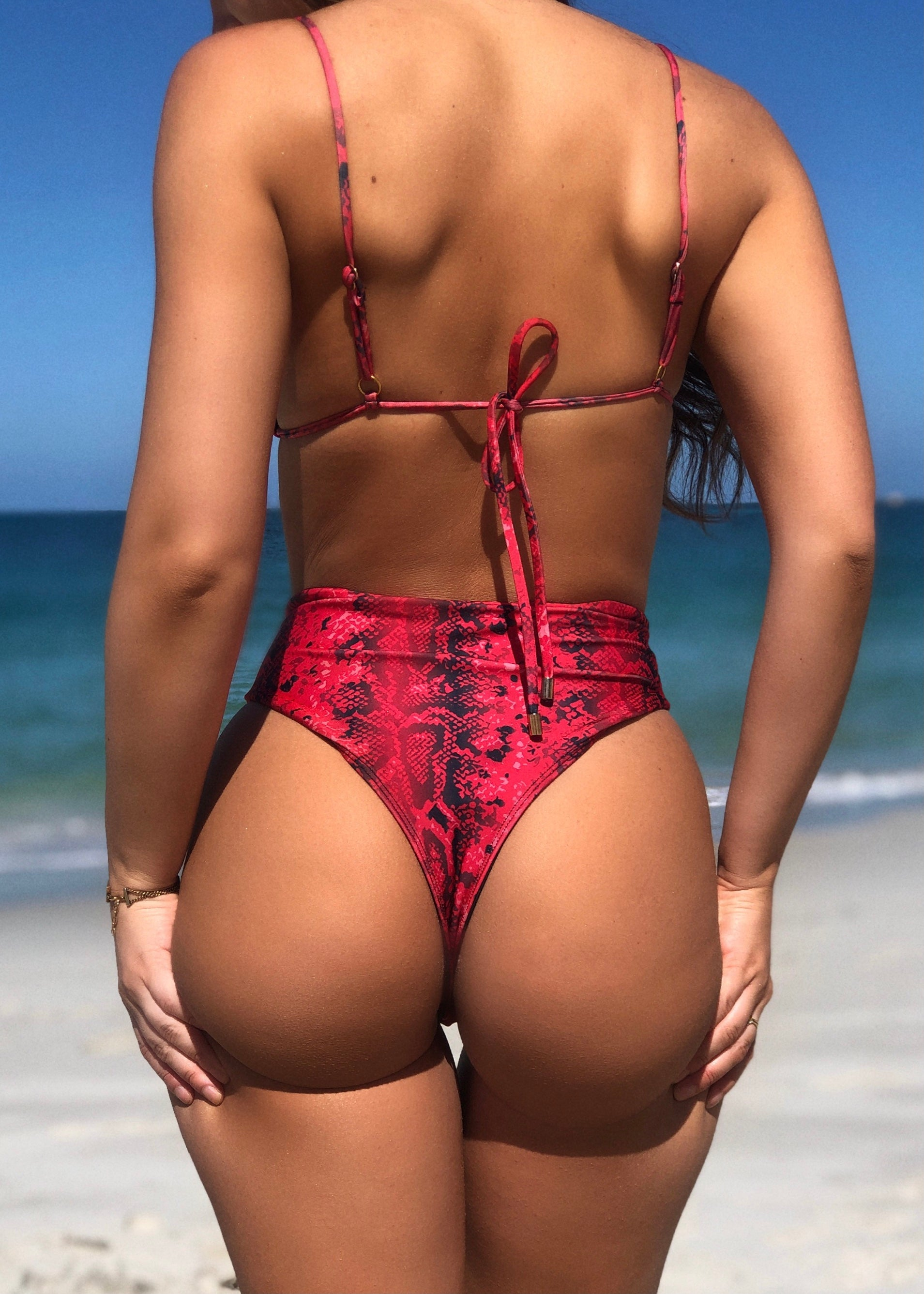 Ayva High Waisted Kini Bottoms Red Cobra