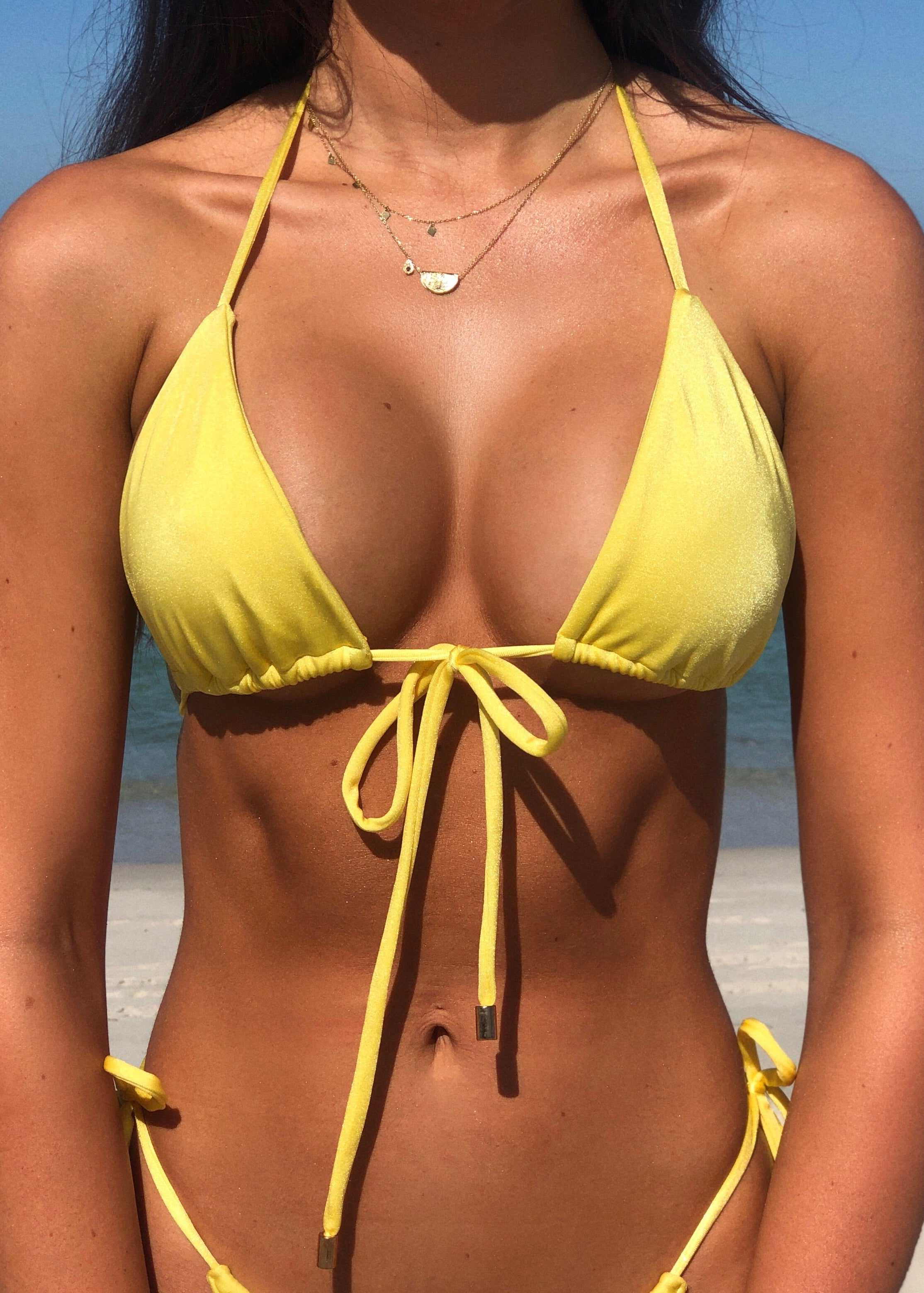 Tied Up Kini Top Lemonade