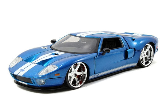 Jada 1:32 Scale - Fast & Furious  2005 Ford GT - M.Blue W-White Stripes Metal Die Cast