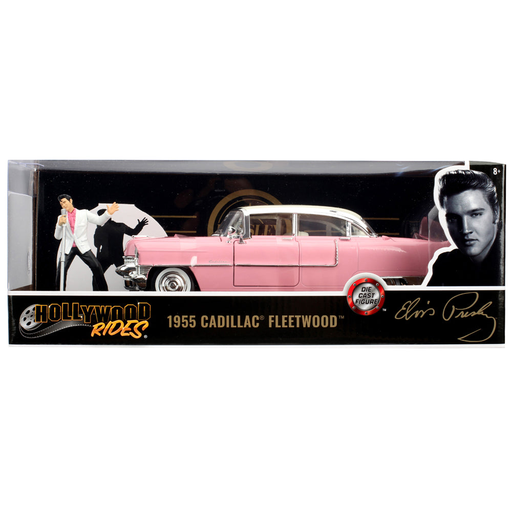 Jada 1:24 Scale Hollywood Ride 1955 Cadillac Fleetwood W/Singing Elvis Figure