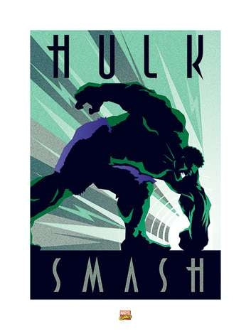 Marvel Deco - Hulk Art Print