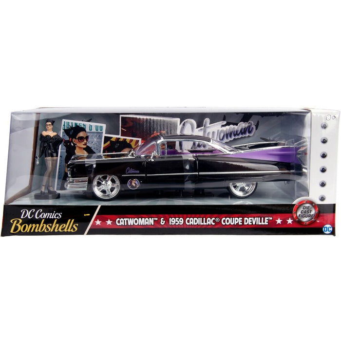 Jada 1:24 Scale DC Bombshell 1959 Cadillac w- Catwoman Figure