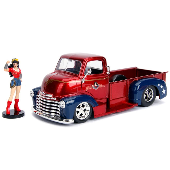 Jada 1:24 Scale DC Bombshell 1952 Checy COE Pickup W-Wonder Woman Figure