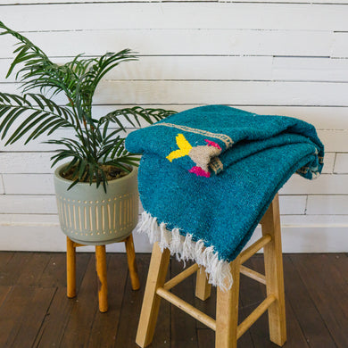Teal Fish Design - Mexican Blanket