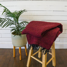 Load image into Gallery viewer, Burgundy Woven Mexican Baja Blanket