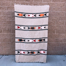 Load image into Gallery viewer, baja mexican blanket yoga throw fish design natural tan rust