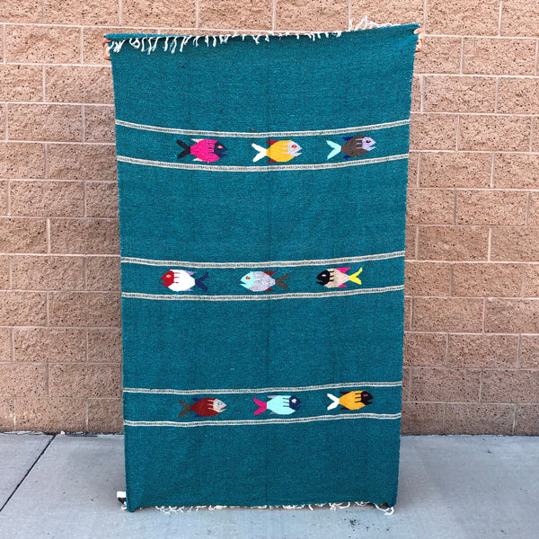 baja mexican blanket yoga throw fish design teal