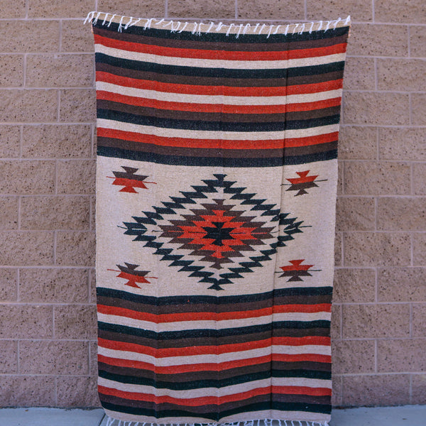Mexican blanket baja rug blanket yoga throw black