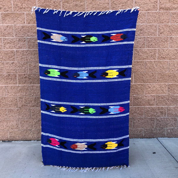 baja mexican blanket yoga throw fish design blue