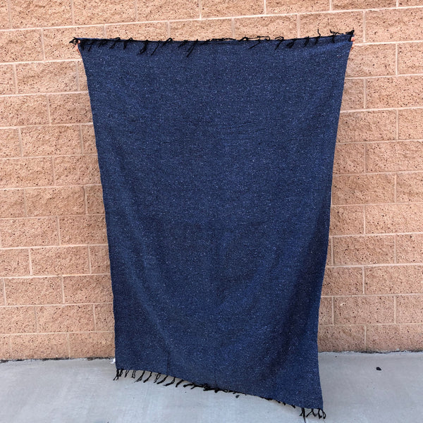 woven blanket mexican baja blanket yoga throw steel blue