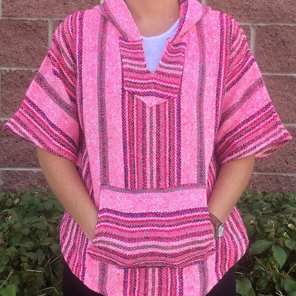 Mexican Baja Hoodie Poncho Pullover (MULTIPLE COLORS)