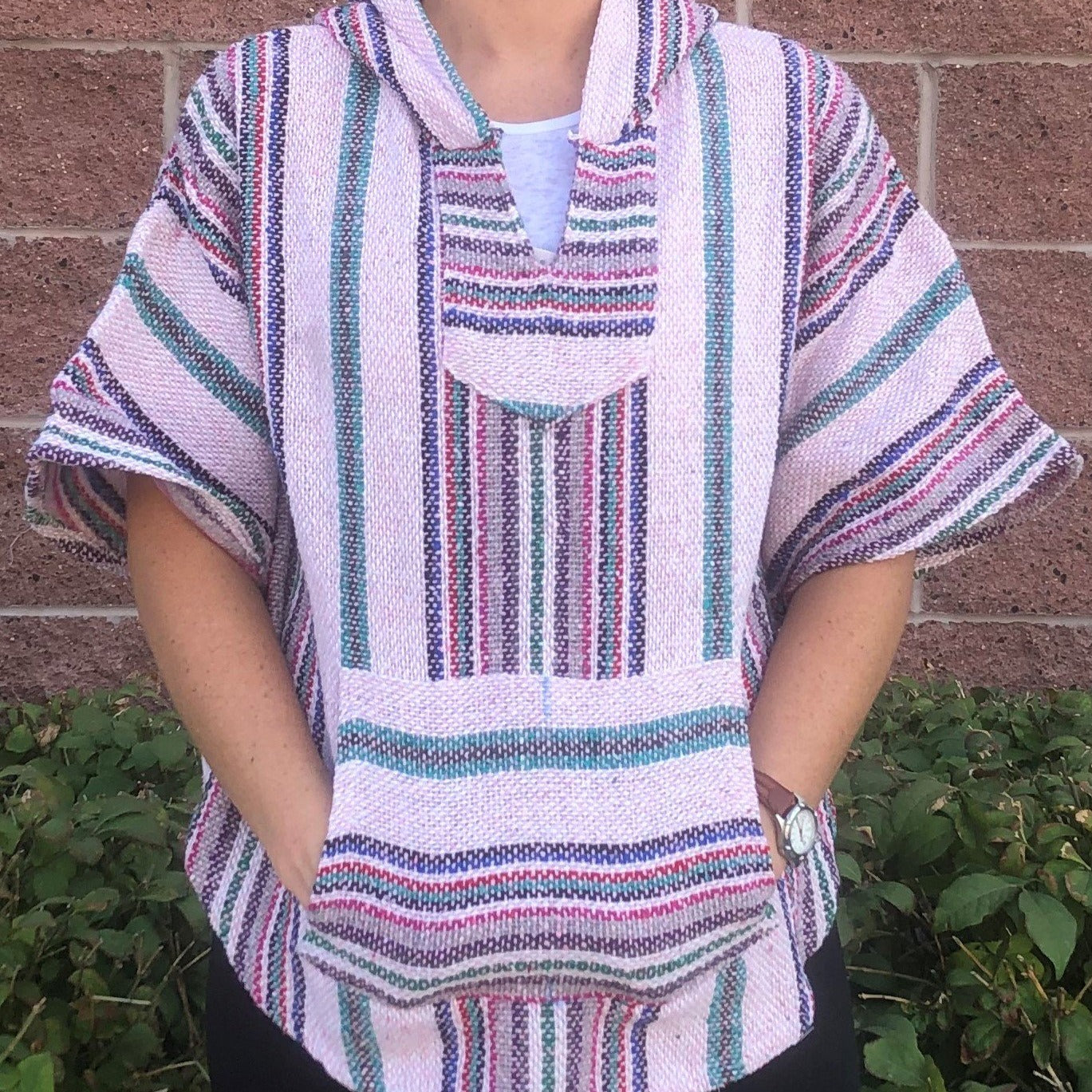 Light Pink Mexican Poncho Pullover Hippies Com