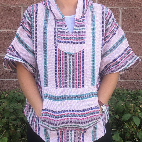light pink mexican poncho baja hoodie drug rug
