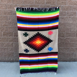 Mexican blanket extra fancy diamond blanket camping rug