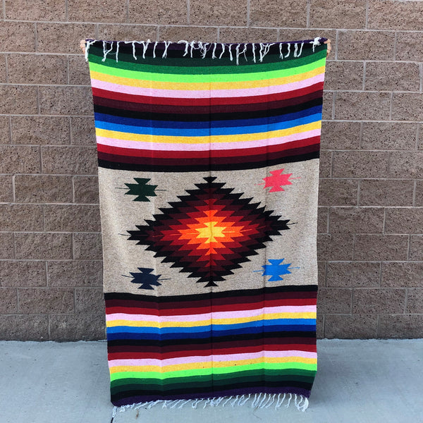 mexican baja blanket yoga throw tassel blanket