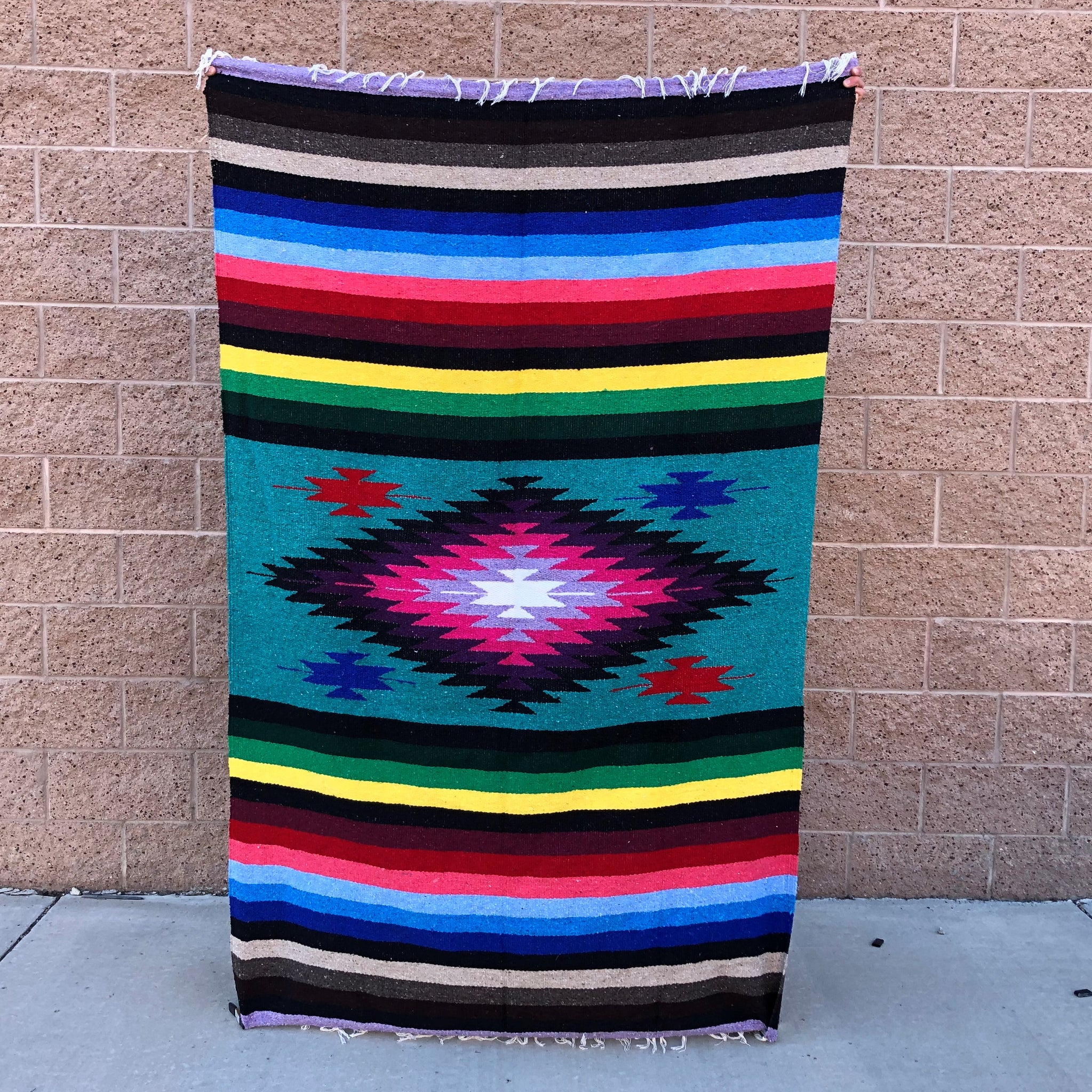 color diamond mexican baja blanket yoga blanket