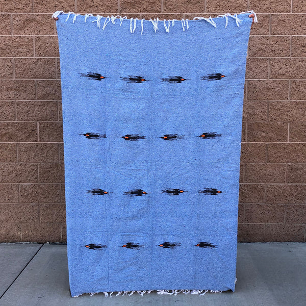 mexican baja blanket thunder bird yoga blanket blue