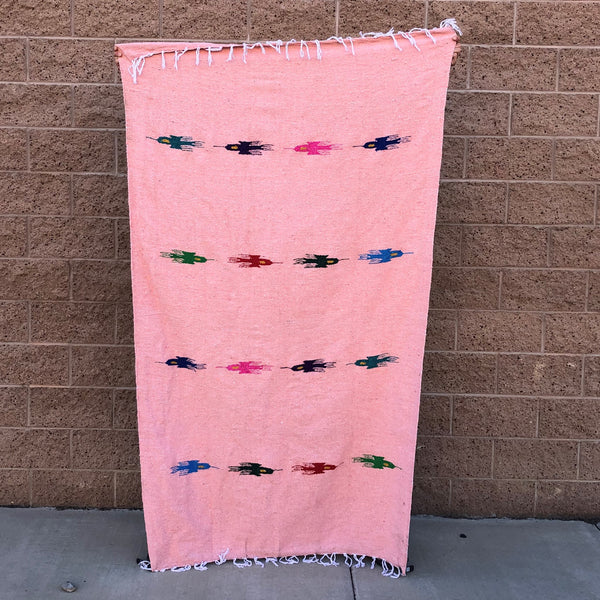 mexican baja blanket thunder bird yoga blanket peach